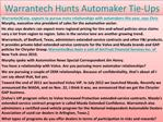 Warrantech Hunts Automaker Tie-Ups
