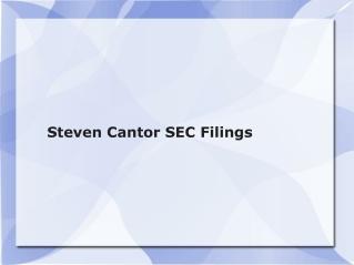 Steven Cantor SEC Filings