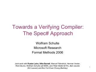 Towards a Verifying Compiler: The Spec Approach