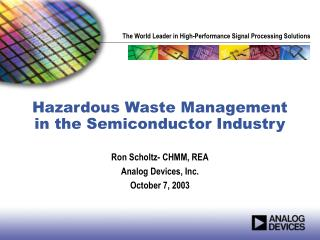 Hazardous Waste Management in the Semiconductor Industry