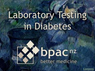 Laboratory Testing in Diabetes