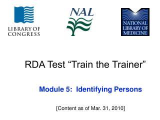 RDA Test  Train the Trainer