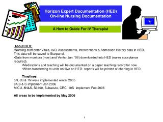 Horizon Expert Documentation HED On-line Nursing Documentation