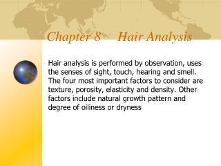 Chapter 8     Hair Analysis