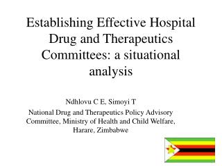 Establishing Effective Hospital Drug and Therapeutics Committees: a situational analysis