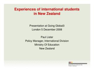 Experiences of international students  in New Zealand