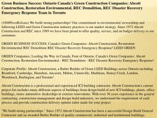 Green Business Success: Ontario Canada's Green Construction