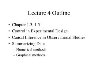 Lecture 4 Outline