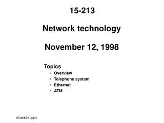 Network technology  November 12, 1998