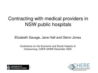 Contracting with medical providers in NSW public hospitals