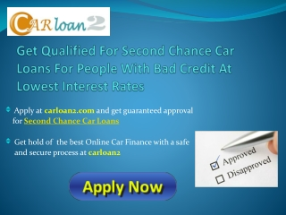 Second Chance Finance Car Loan