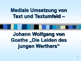 Mediale Umsetzung von Text und Textumfeld      Johann Wolfgang von Goethe  Die Leiden des jungen Werthers