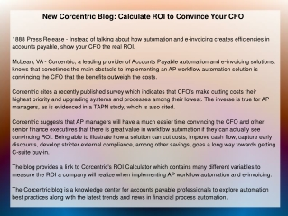 New Corcentric Blog: Calculate ROI to Convince Your CFO