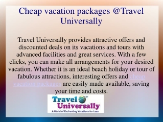 Find Cheap Vacation Packages at Travel Universally