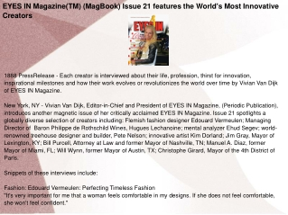 EYES IN Magazine(TM) (MagBook) Issue 21 features the World's