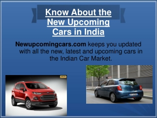 Know About the New Upcoming Cars in India