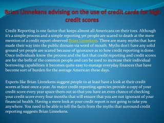 Brian Linnekens advising on the use of credit cards for high
