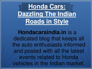 Honda Cars- Dazzling the Indian Roads in Style