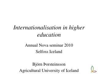 Internationalisation in higher education