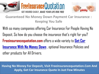 Guaranteed No Money Down Payment Car Insurance