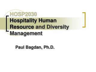 HOSP2030 Hospitality Human Resource and Diversity  Management