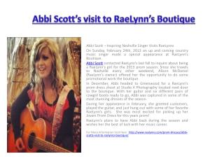 Abbi Scott's visit to RaeLynn's Boutique