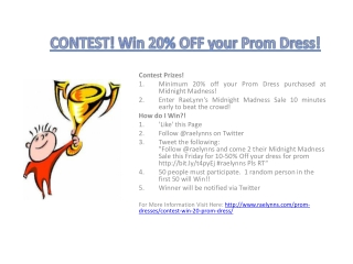 CONTEST! Win 20% OFF your Prom