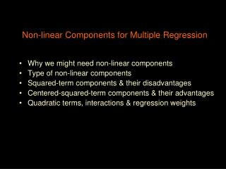 Non-linear Components for Multiple Regression