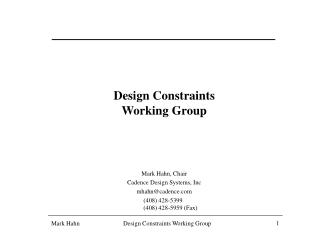 Design Constraints Working Group