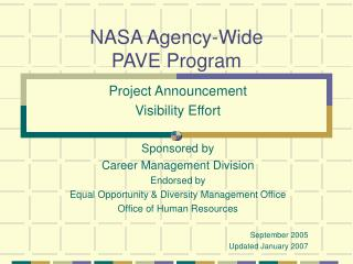 NASA Agency-Wide  PAVE Program