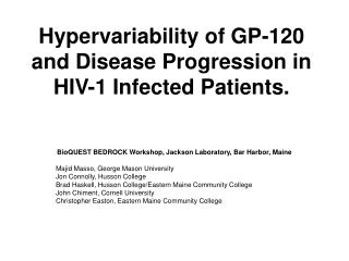 Hypervariability of GP-120 and Disease Progression in HIV-1 Infected Patients.