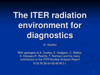 The ITER radiation environment for diagnostics