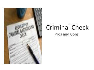 Criminal Check: Pros and Cons