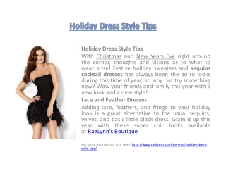 Holiday Dress Style Tips