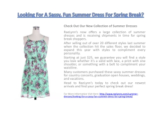 Looking For A Sassy, Fun Summer Dress