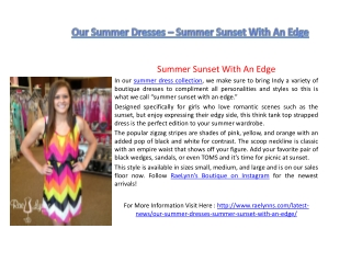 Our Summer Dresses