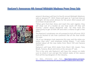 RaeLynn's Announces 4th Annual Midnight Madness Prom Dress