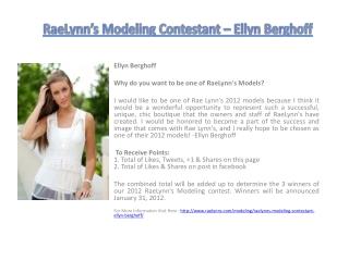RaeLynn's Modeling Contestant – Ellyn Berghoff