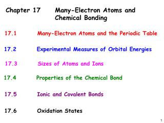 Chapter 17 Many-Electron Atoms and     Chemical Bonding