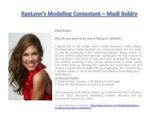 RaeLynn's Modeling Contestant – Madi Boldry