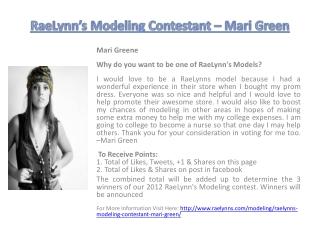 RaeLynn�s Modeling Contestant � Mari Green