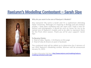 RaeLynn's Modeling Contestant – Sarah Sipe