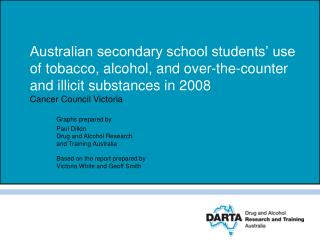 Australian secondary school students  use of tobacco, alcohol, and over-the-counter and illicit substances in 2008  Canc