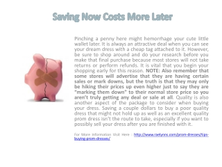 Saving Now Costs More Later