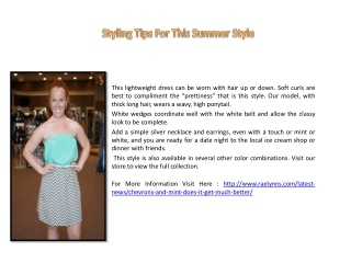 Styling Tips For This Summer