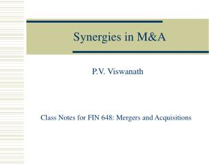 Synergies in MA
