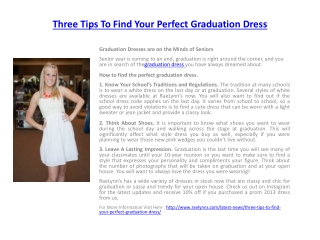 Three Tips To Find Your Perfect Graduation Dress