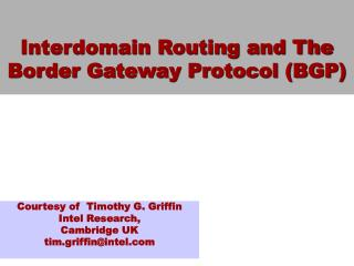 Interdomain Routing and The Border Gateway Protocol BGP