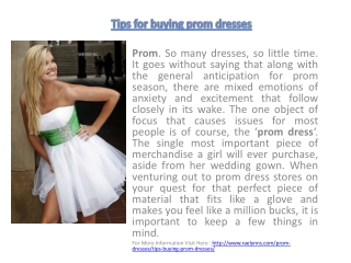 Tips for buying prom dresses