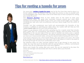 Tips for renting a tuxedo for prom